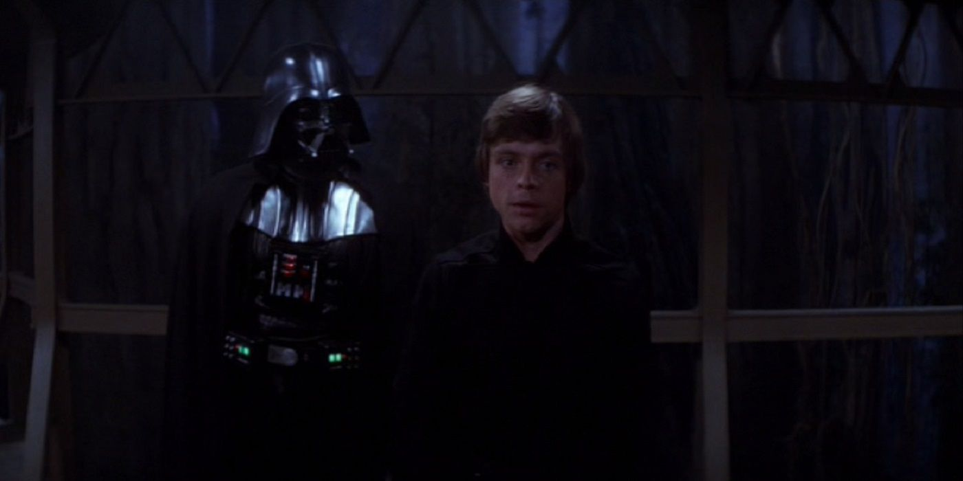 Mark Hamill as Luke Skywalker in Return of the Jedi which is a Star Wars movie with Luke Skywalker and Darth Vader talking about the Jedi in the sixth episode of the Star Wars Saga which is before The Force Awakens and still had Luke capable of maturing unlike Star Wars Episode VIII The Last Jedi where he regressed because they couldn't figure out a better reason to leave him stranded in a Star Wars movie.