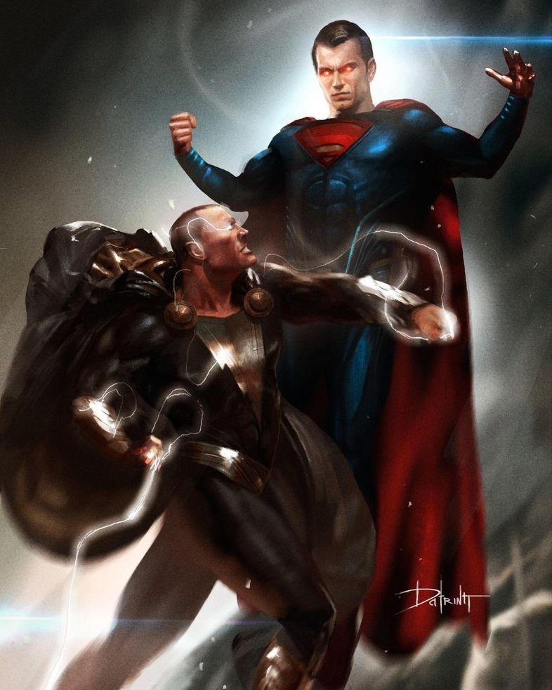 Black Adam (Spin off de Shazam) avec The Rock Superman-Black-Adam-DCEU-Fight-Artwork-Datrinti