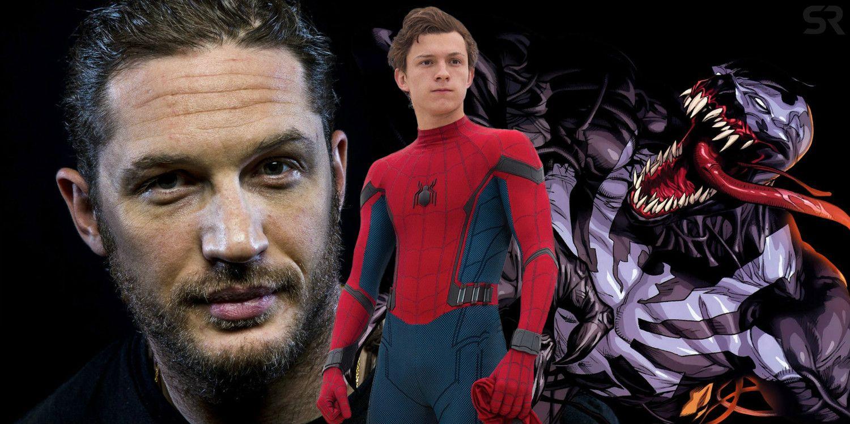 venom fan art imagines if tom hardy caught holland's spider-man