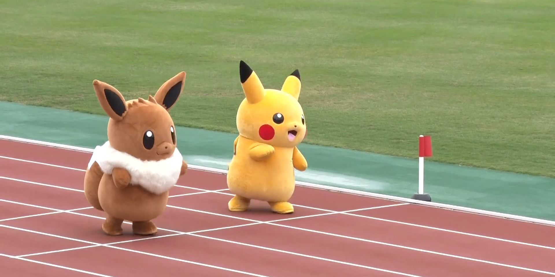watch pikachu show off his uncanny speed in a race with eevee