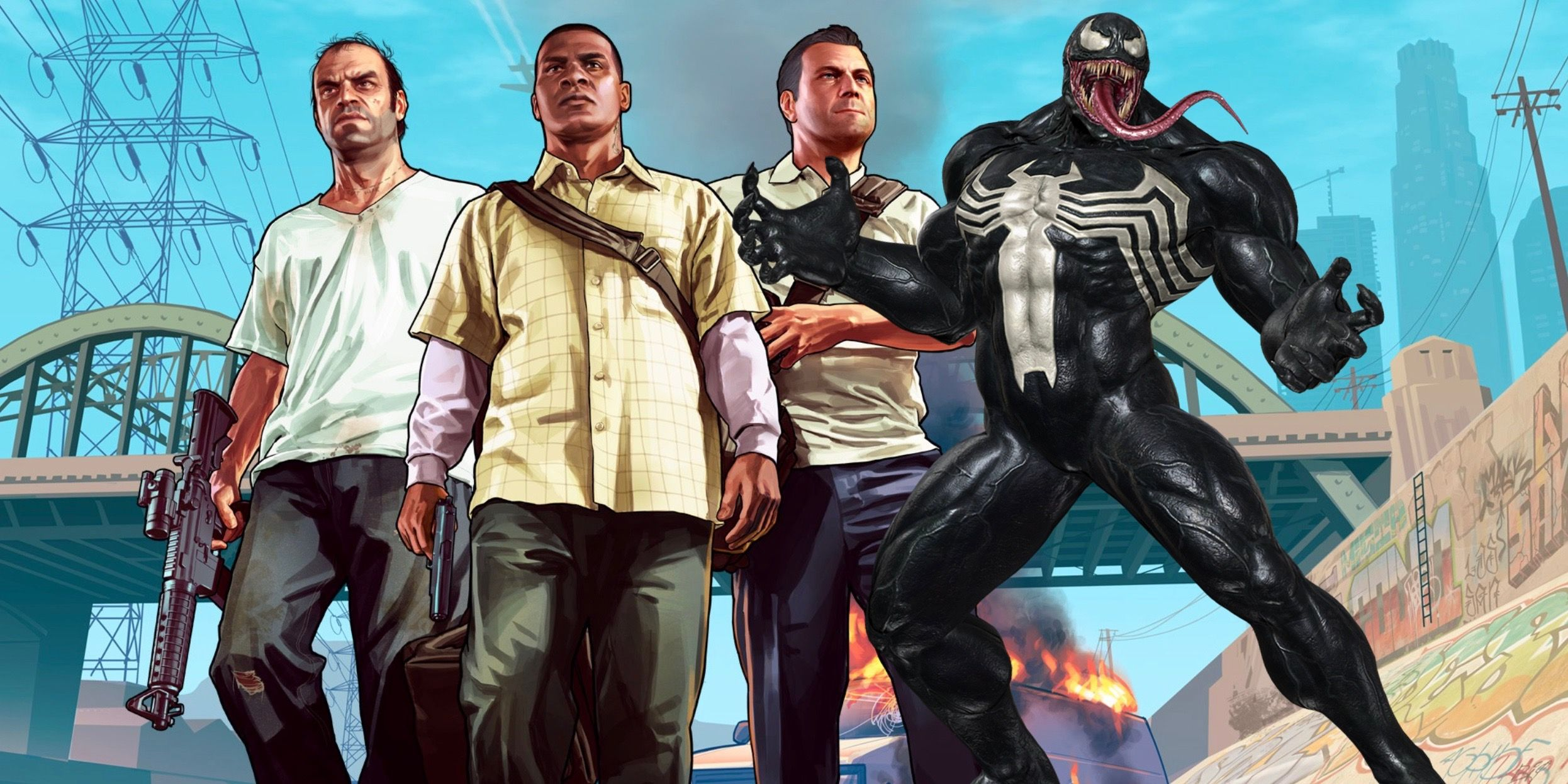 Venom Attacks Los Santos in Crazy Grand Theft Auto V Mod