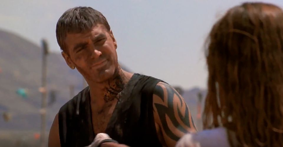 George Clooney's From Dusk Till Dawn Flame Tattoo Meaning From-dusk-till-dawn-george-clooney-tattoo