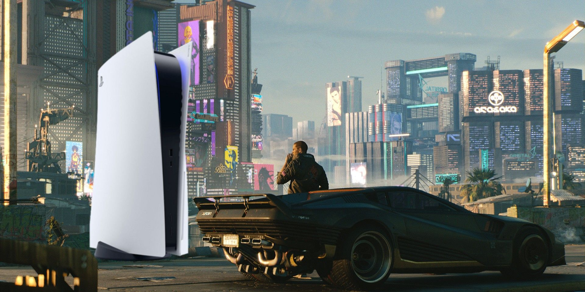 The PlayStation 5 is brilliantly portrayed as a Cyberpunk skyscraper