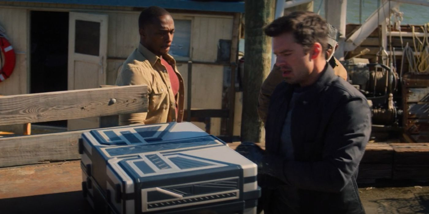 Bucky and Sam with Wakandan box in Falcon and Winter Soldier